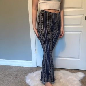70s style patterned flare pants